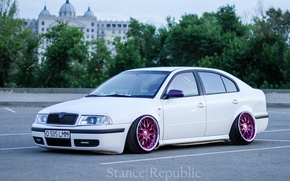Picture white, wheels, tuning, low, Skoda, stance, skoda, Octavia, Octavia