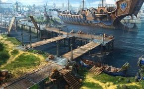 Picture the city, ship, pier, art, port, Dragon Eternity, dragons of eternity