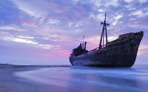 Wallpaper sand, sea, beach, the sky, shore, ship, the evening, horizon, the ship