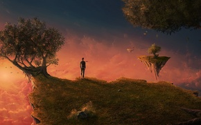 Picture Islands, clouds, trees, sunset, space, dawn, people, sleep, art, costume, tie, art, island, man, flying …