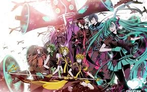 Picture girls, anime, flag, art, aircraft, guys, vocaloid, hatsune miku, megurine luka, kagamine rin, Vocaloid, kagamine …