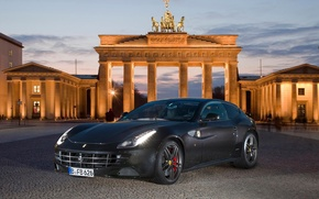 Picture black, coupe, pavers, columns, ferrari, Ferrari