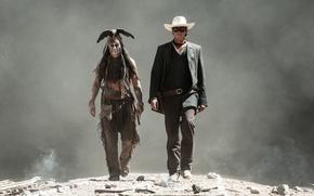 Picture Johnny Depp, Johnny Depp, The Lone Ranger, Armie Hammer, The lone Ranger, John Reid, Tonto, ...