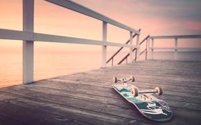 Picture sea, sunrise, pierce, skateboard