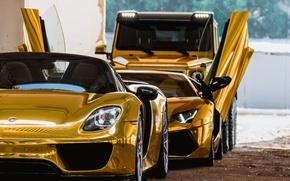 Picture Golden, Lamborghini Aventador, Porsche 918, Mercedes 6x6