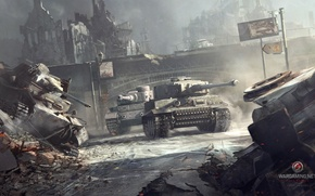 Picture the city, war, smoke, Tiger, Tiger, tanks, World of tanks, WoT, world of tanks, heavy …