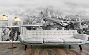 Picture the city, the plane, sofa, interior, floor lamp, Wallpapers
