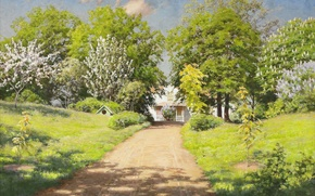 Wallpaper flowers, road, cottage, lilac, greens, clouds, spring, Sunny, picture, Johan Krouthen, chestnuts, trees, the bushes, ...