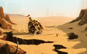 Wallpaper head, weapons, art, helmet, failures, desert, sand, people, rocks, statue, war, fiction, landscape