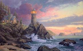 Wallpaper wave, rock, house, the ocean, lighthouse, the evening, waves, rock, house, painting, ocean, sunset, art, ...