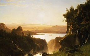 Picture landscape, nature, picture, Albert Bierstadt, Island Lake. Wind River Range. Wyoming