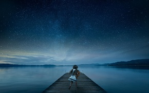 Picture toy, pier, girl, starry sky