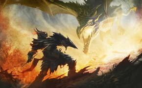 Picture art, the elder scrolls, skyrim, Skyrim, dragon, the battle, Daedric armor, fire
