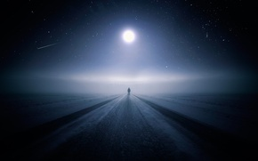 Picture winter, road, night, the moon, people, stars