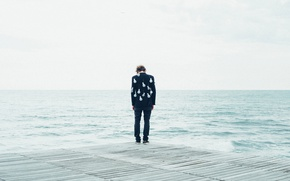 Picture sad, sea, ocean, seascape, man, pier, bulb jacket