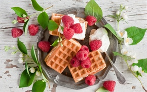 Picture leaves, berries, raspberry, waffles