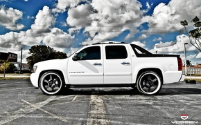 Picture white, the sky, hdr, Parking, drives, chevrolet, avalanche