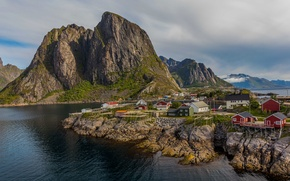 Picture sea, the sky, clouds, mountains, home, Norway, the village