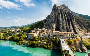 Picture rock, river, France, mountain, home, Sisteron