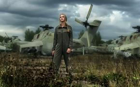 Picture pilot, Elena, helicopters, Tatiana Mercalova, leathers