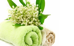 Picture flowers, towel, lilies of the valley, Spa