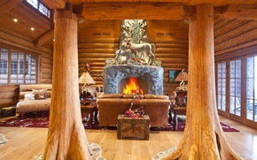 Picture sofa, fire, interior, chair, fireplace, columns, interior, statuettes, home., wooden house, the wooden pillars