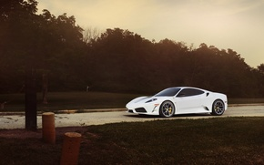 Picture road, white, the sky, trees, posts, the evening, white, ferrari, Ferrari, f430, the cable, sunset, …