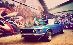 Picture home, Mustang, Ford, 1969, grafiti, Classic, Muscle Car