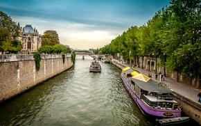 Picture the sky, trees, bridge, river, France, Paris, ship, home