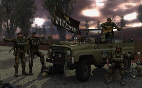 Wallpaper machine, weapons, the hood, soldiers, vodka, congratulations, UAZ, appetizer, S. T. A. L. K. E. ...