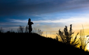 Picture the sky, girl, sunset, flowers, silhouette