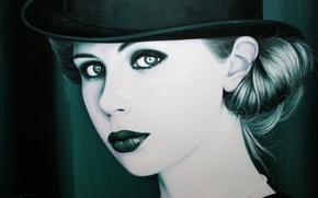 Picture girl, retro, hat, makeup, art, Christiane Vleugels