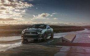 Picture Mustang, Ford, Muscle, Car, Front, Sunset, Wheels, 2015, Velgen