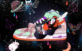 Wallpaper girl, space, drops, owl, paint, hare, shoes, constellation, sneakers