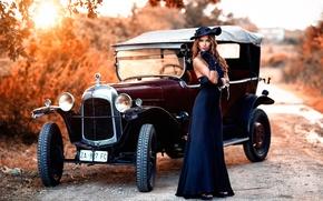 Picture auto, girl, retro, rarity, vintage, Alessandro Di Cicco, Old Torpedo