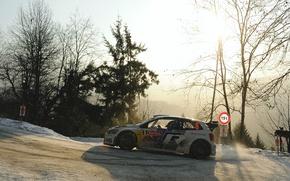 Picture The sun, Winter, Auto, White, Snow, Sport, Volkswagen, Machine, Light, Red Bull, WRC, Rally, Rally, …
