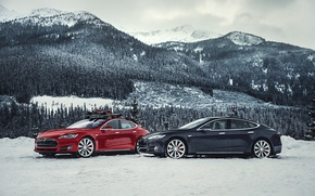 Picture snow, mountains, two, track, electric car, Tesla Model S
