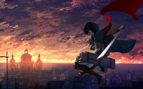 Picture the sky, girl, clouds, sunset, the city, home, anime, scarf, art, haraguroi you, shingeki no …