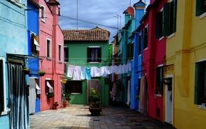 Picture home, Italy, Venice, linen, Italy, Venice, Italia, Venice, Yard, Burano, Burano