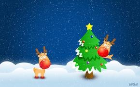 Wallpaper winter, snow, tree, new year, Deer