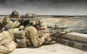 Picture soldiers, sniper, Britain, rifle, on the position