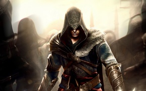 Picture pattern, hood, shadows, fur, Ezio, straps, Assassin`s Creed, Assassin's creed