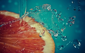 Picture water, squirt, slice, grapefruit