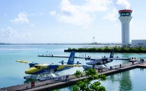 Wallpaper aircraft, airport, The Maldives, seaplane, floatplane, Trans Maldivian, Efficiency, the control tower