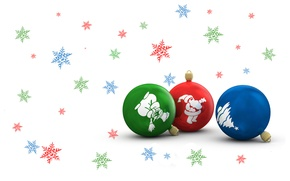 Picture snowflakes, balls, new year