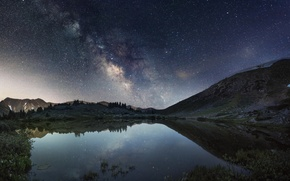 Picture mountains, night, lake, Colorado, the milky way, United States Of America, Clear Creek