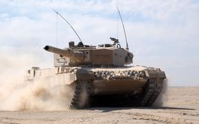 Picture sand, desert, dust, tank, combat, armor, Leopard 2 A4
