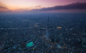 Picture sunset, the city, Tokyo