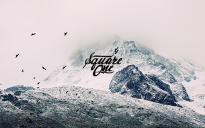 Picture freedom, mountains, birds, nature, labels, treatment, lettering, filters, lettering, vcoff
