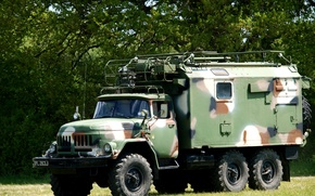 Picture camouflage, car, coloring, cargo, Soviet, terrain, the military option, ZIL-131 with a box